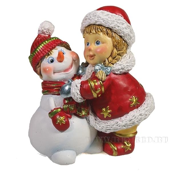 Фигура декоративная Девочка и снеговик (красный) , L8.5W5H9.5, оптом