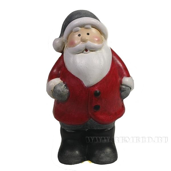 Фигура декоративная Дед Мороз в сером колпаке , L5W3.5H7, оптом