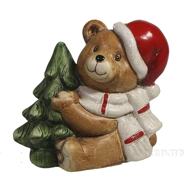 Фигура декоративная Медвежонок сидит с елкой L8W11H10 оптом