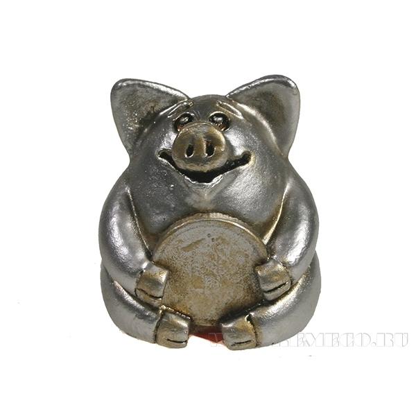 Фигура декоративная Свинка рубль бережет (серебро) L4.5W5H5 оптом