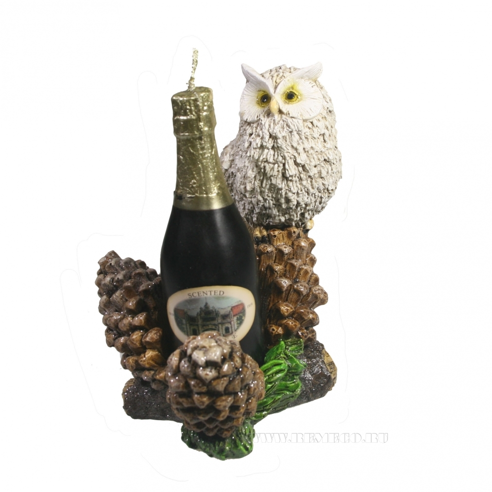 Изделие декоративное подсвечник Сова на шишках (свеча-шампанское)L15.5W11H17 оптом
