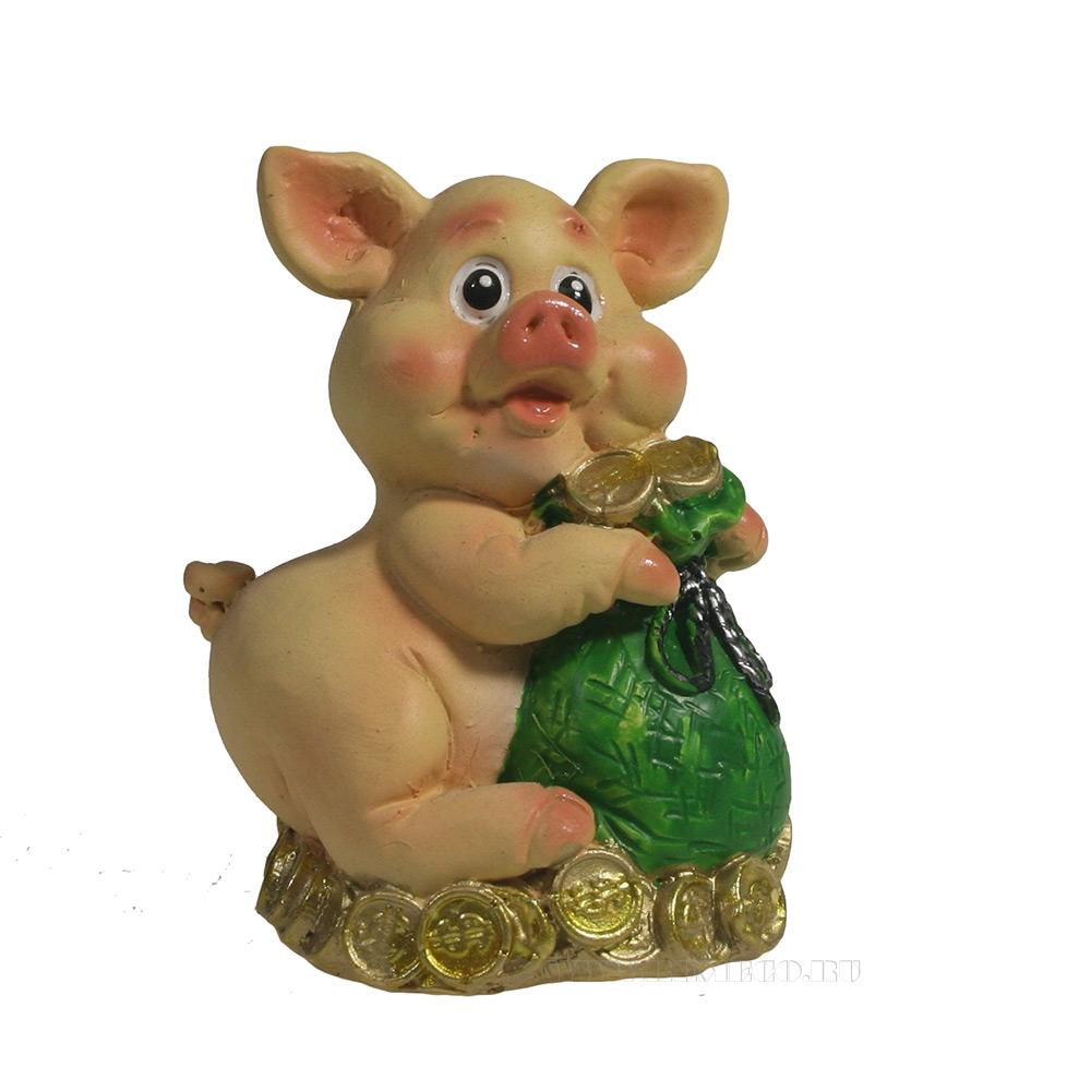 Фигура декоративная Свинка с мешком (зеленый) L5W4,5H7, оптом