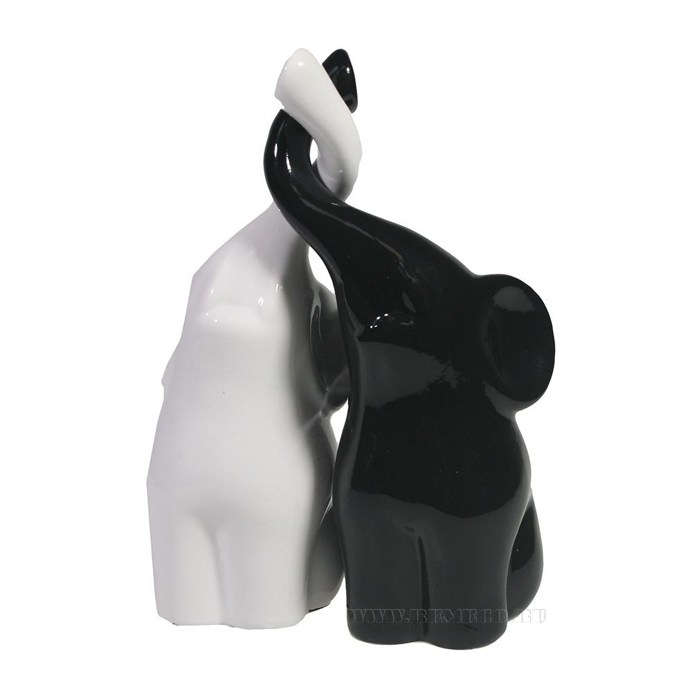 Фигура декоративная Пара слонов (черный+белый глянец) L6,5W12H16 оптом