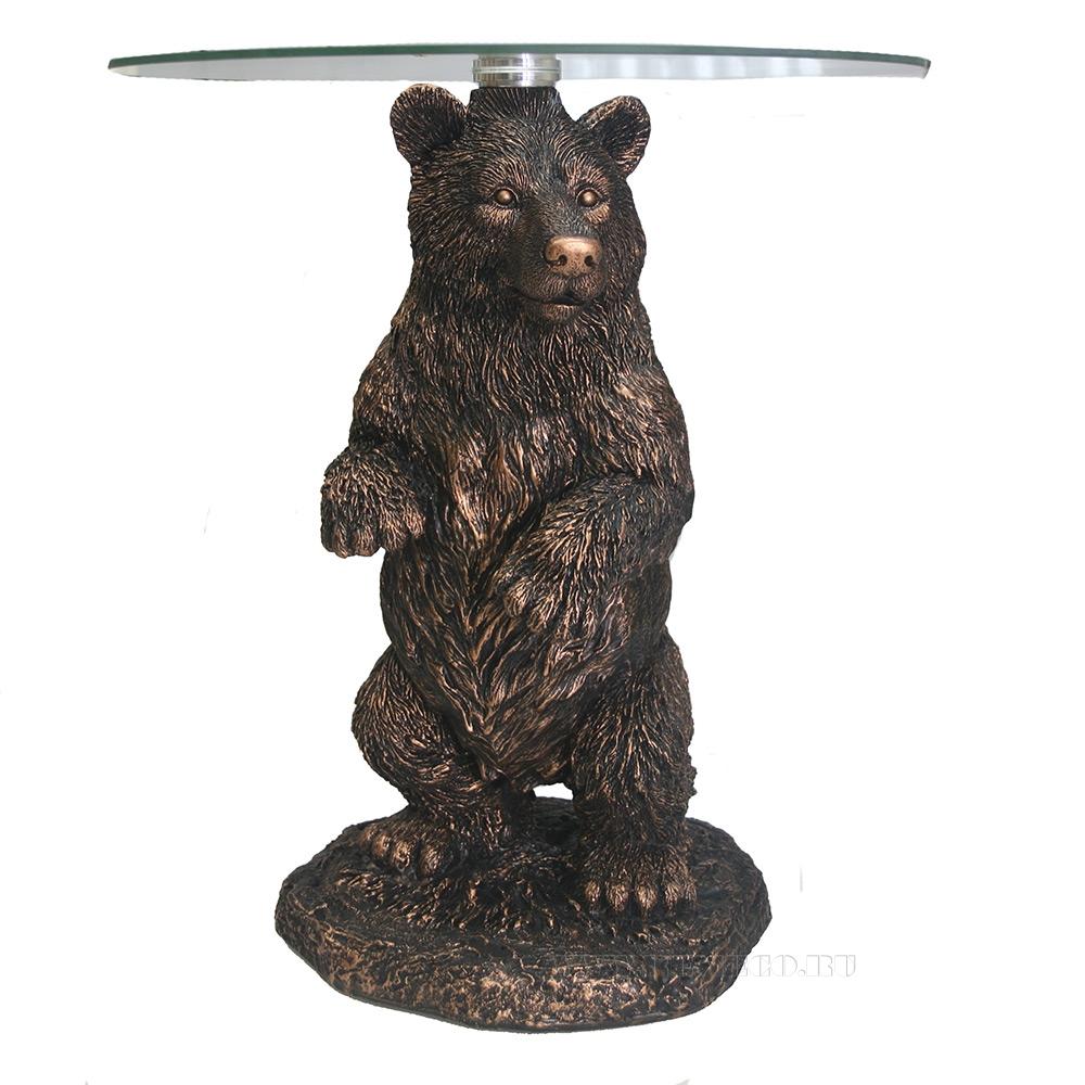 Стол журнальный Медведь (медь), D45 H55 см (2 части - основание, столешница) оптом