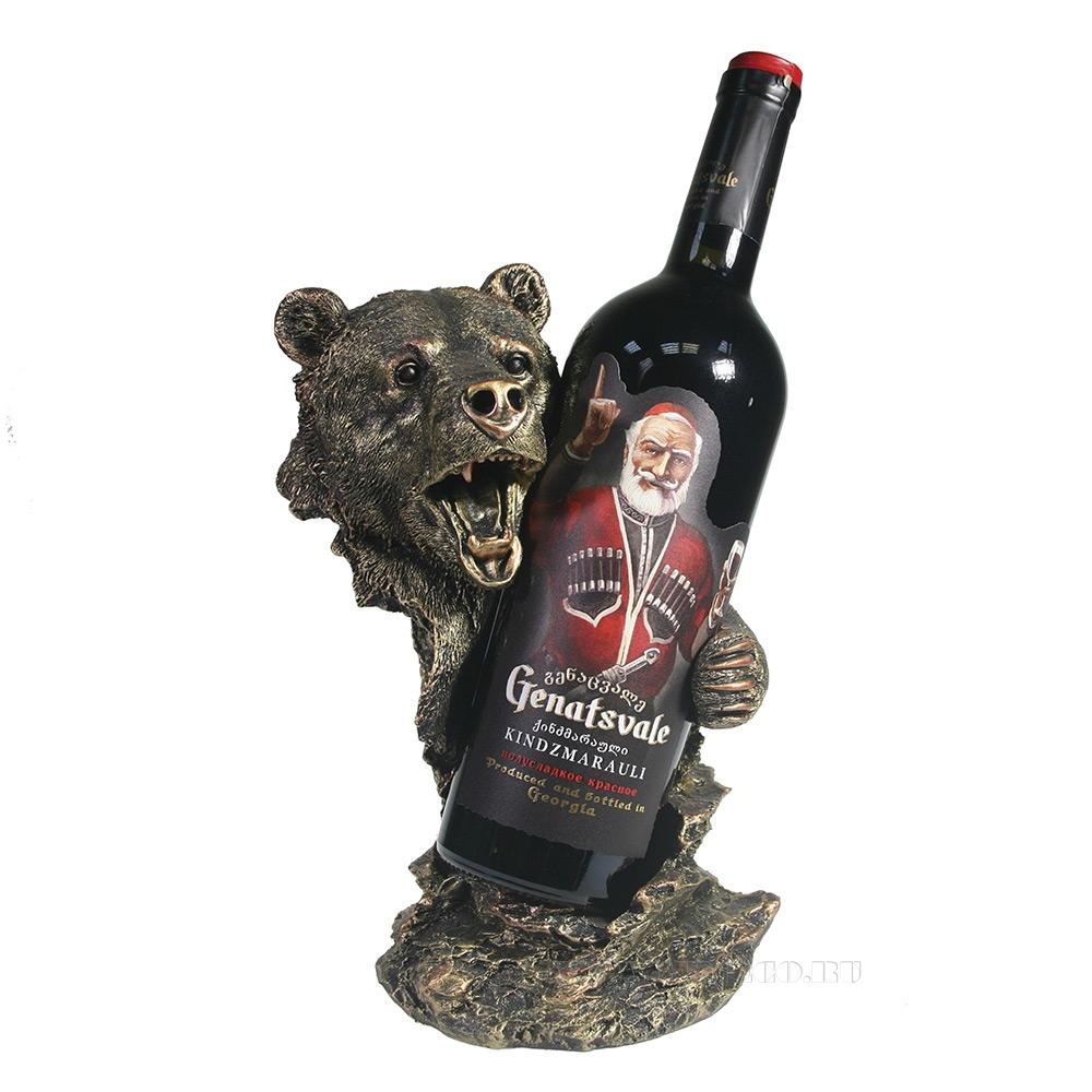 Подставка под бутылку Медведь (бронза) L14W18H26 см оптом