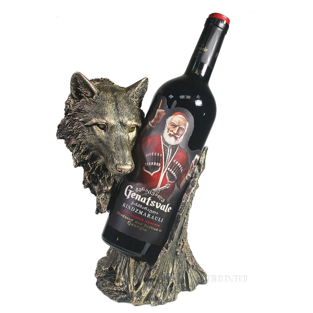 Подставка под бутылку Волк (бронза) L14W17H26 см оптом