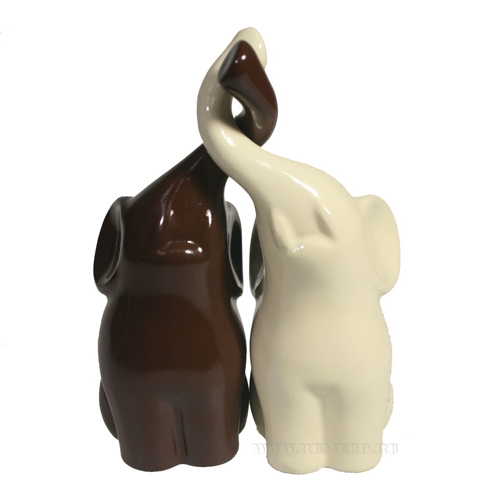 Фигура декоративная Пара слонов (молочный+шоколад глянец) L6,5W12H16 оптом