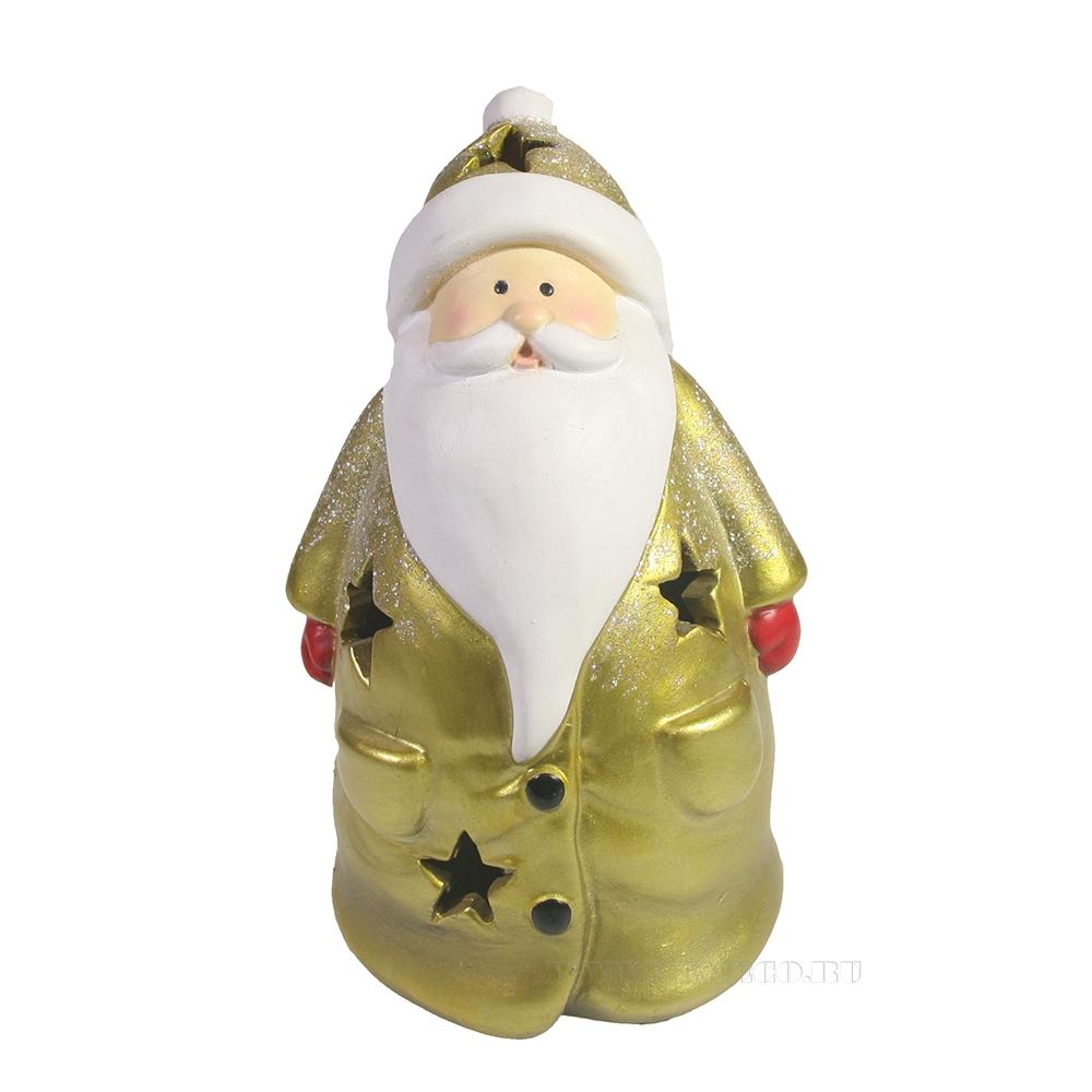 Фигурка декоративная со светодиодной подсветкой Дед Мороз (золото) L11W9H15 оптом