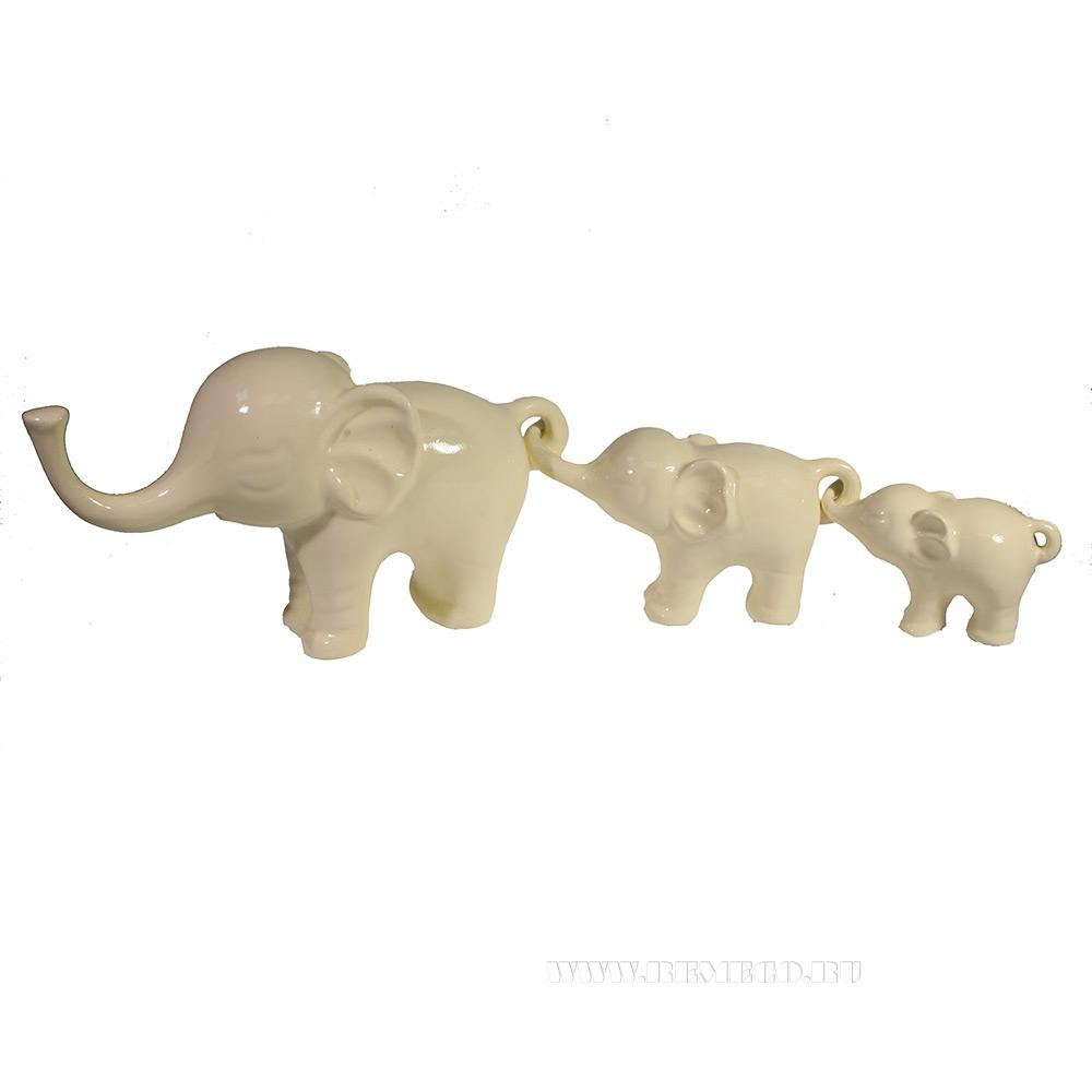 Фигура декоративная Композиция Семья слонов (слоновая кость) 3в L57W15H8,5 оптом