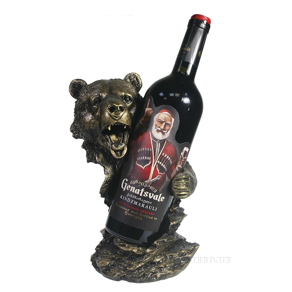 Подставка под бутылку Медведь (золото) L14W18H26 см оптом