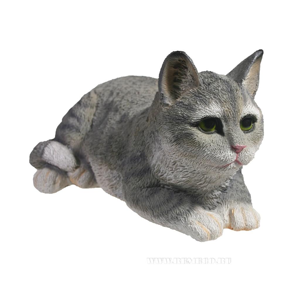 Фигура декоративная Кот (серый), L25 W12 H9 см оптом