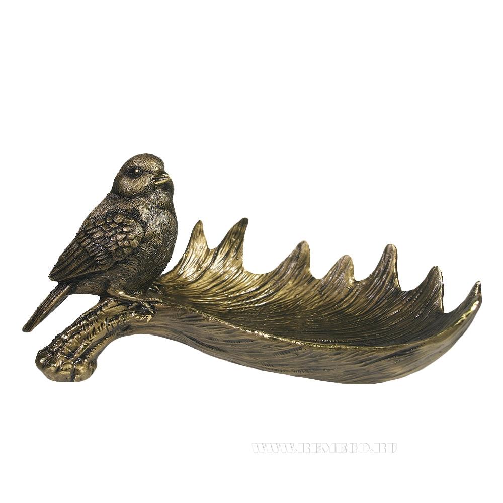 Декоративная подставка под мелочи Лосиный рог с птичкой L28W15H14 см оптом