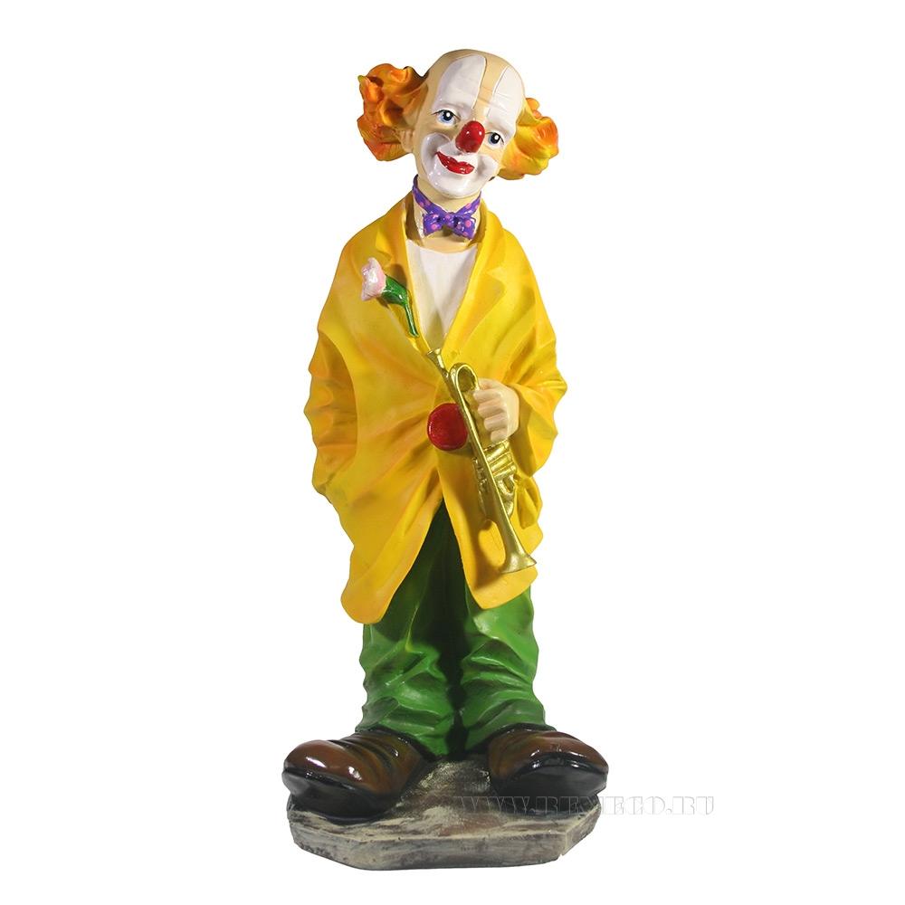 Фигура декоративная Клоун с трубой , L15W15H37 см оптом