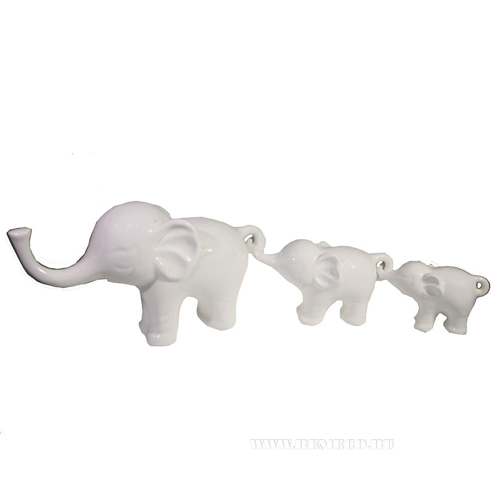 Набор из 3-х декоративных фигурок Семья слонов (белый) L57W15H8,5 оптом