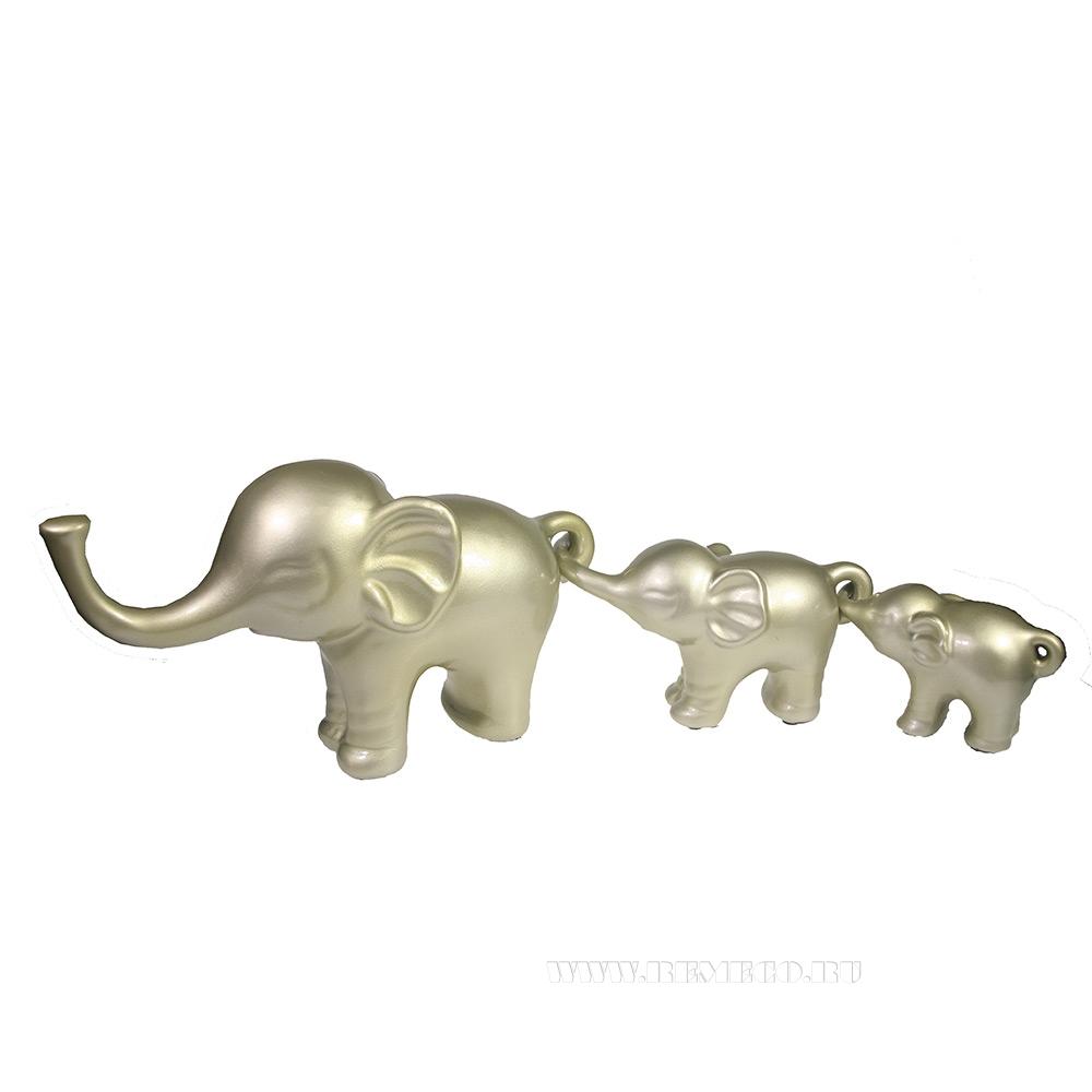 Набор из 3-х декоративных фигурок Семья слонов (серебристо-бежевый) L57W15H8,5 оптом