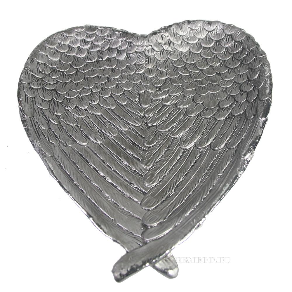 Декоративная подставка под мелочи Крылья ангела (серебро) L23W20H3,5 см оптом