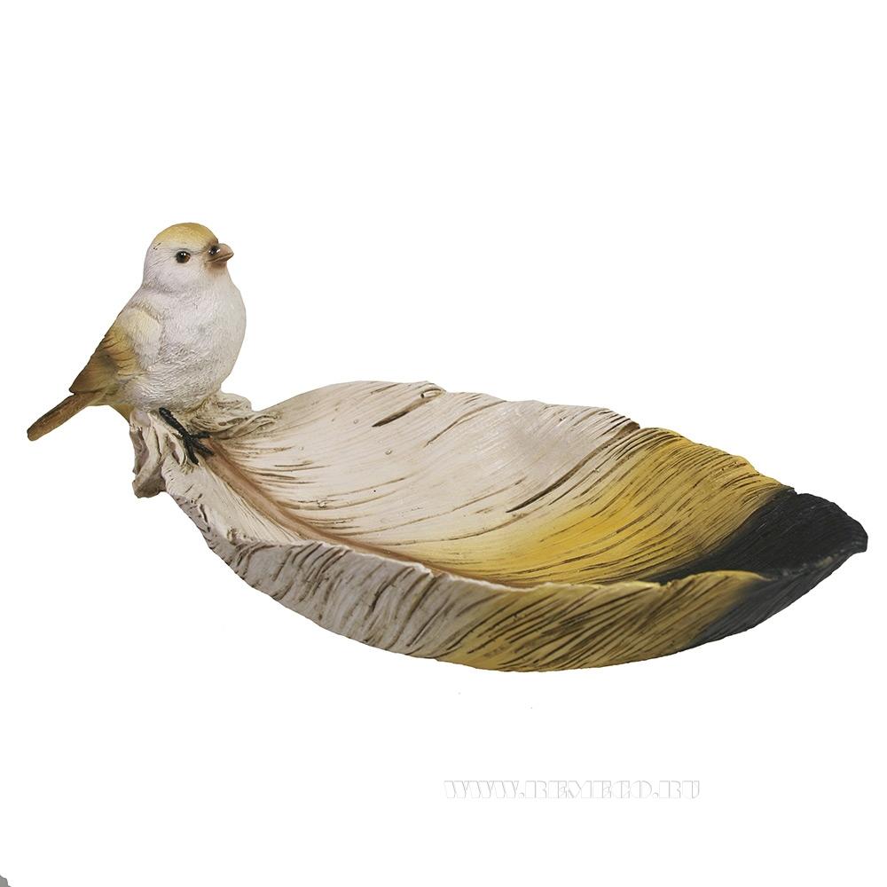 Декоративная подставка под мелочи Птичка на перышке (акрил) L26W10H10,5 см оптом