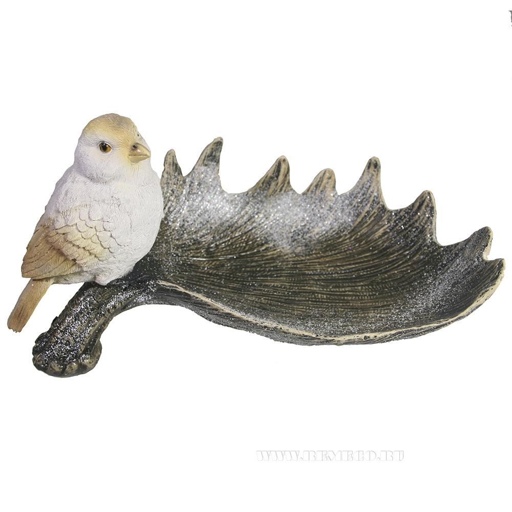 Декоративная подставка под мелочи Лосиный рог с птичкой (акрил) L28W15H14 см оптом