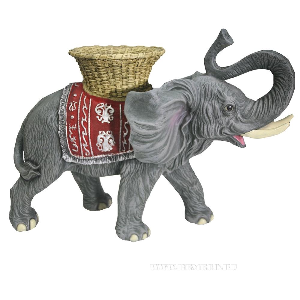 Фигура декоративная Слон с кашпо на спине (акрил) L65W32H47 оптом