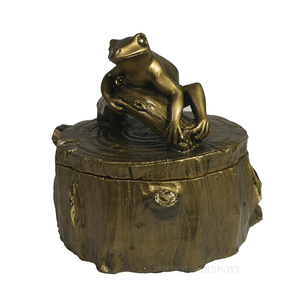 Шкатулка Лягушка на пне (золото)  L11W11H11 оптом