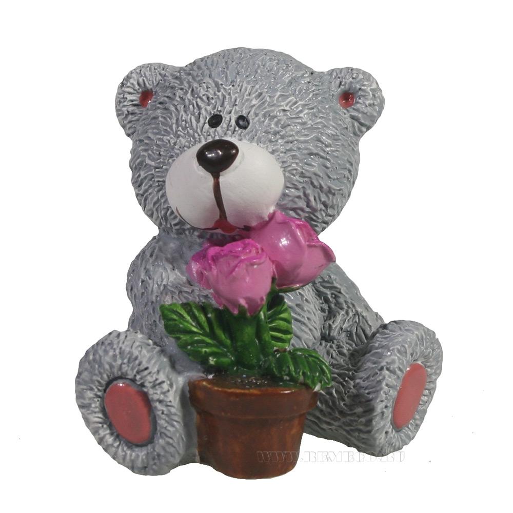 фигура декоративная Мишка с горшком цветов (серый) L5W5H5.5 оптом