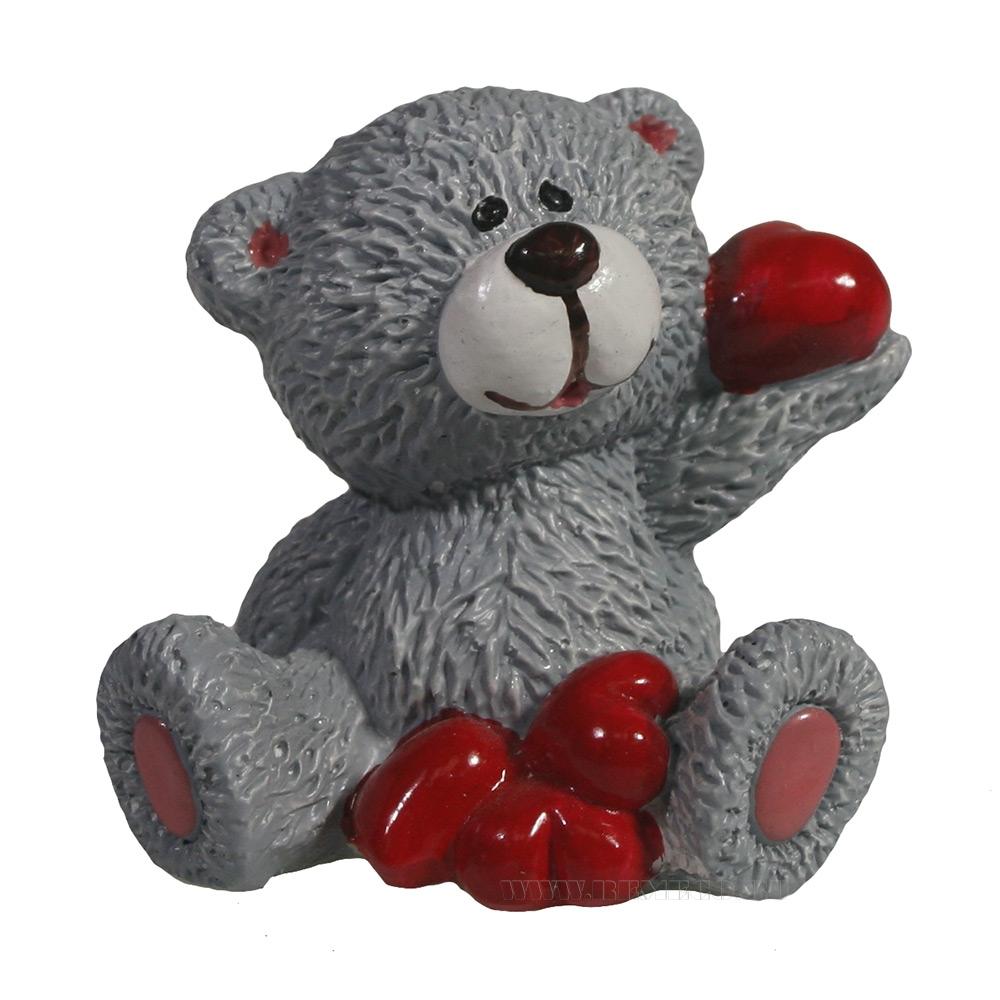 фигура декоративная Мишка с сердечками (серый) L5W5H5,5 оптом