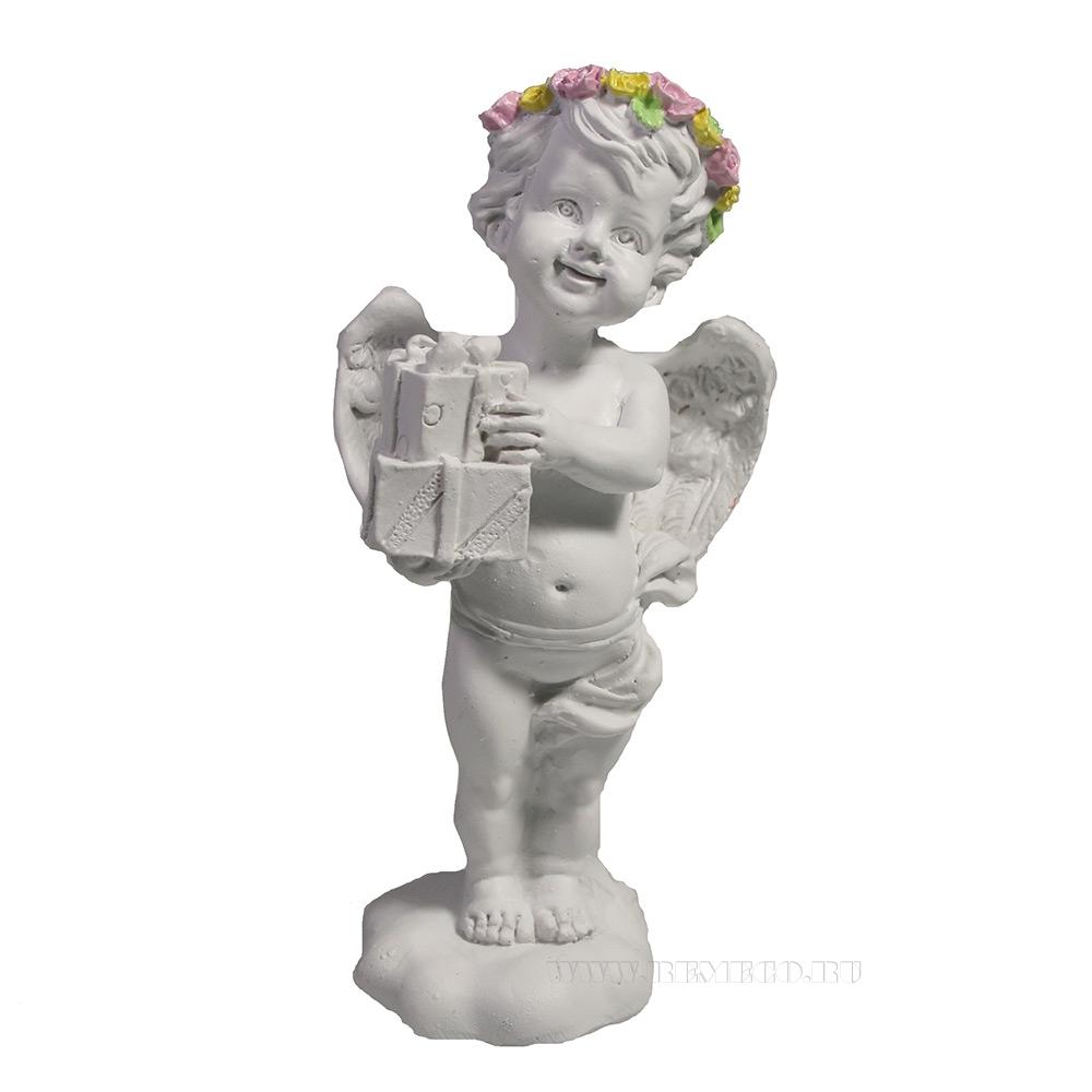 Фигура декоративная Ангел с подарками L5W36H12 оптом