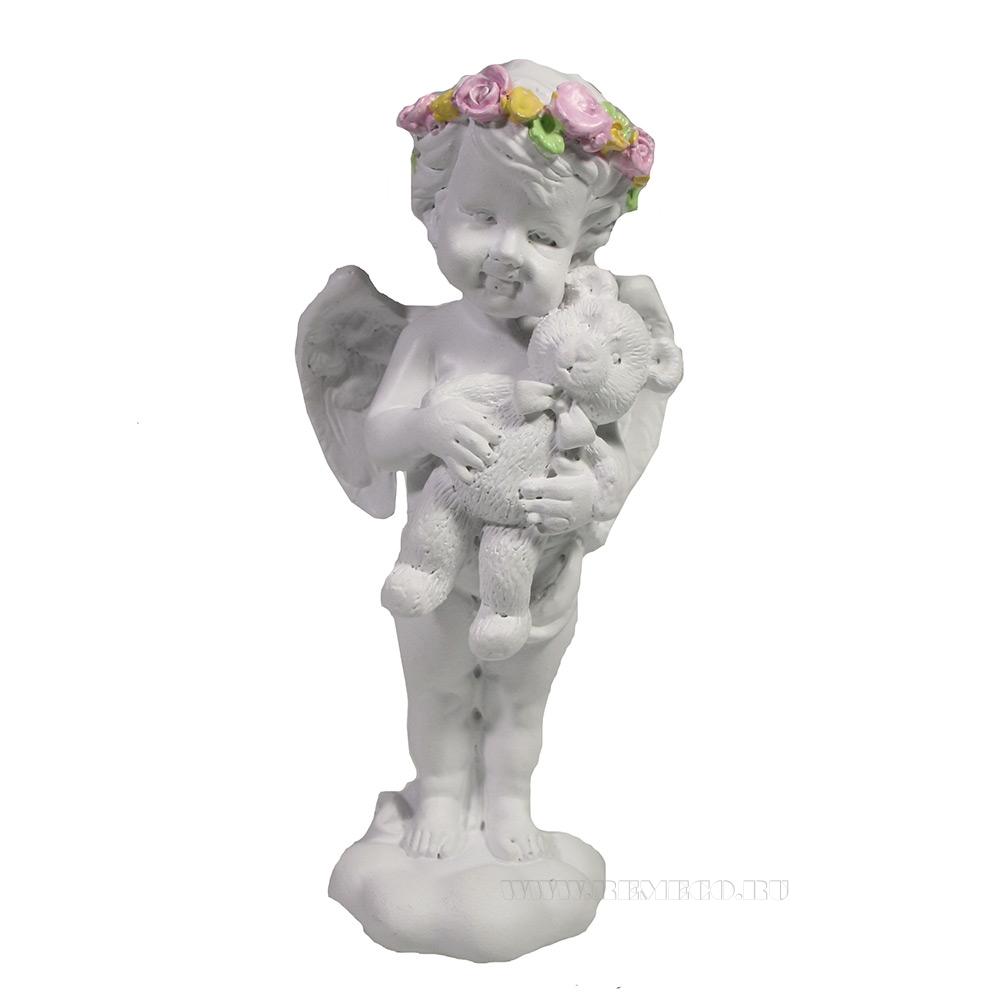 Фигура декоративная Ангел с мишкой L5W6H12 оптом