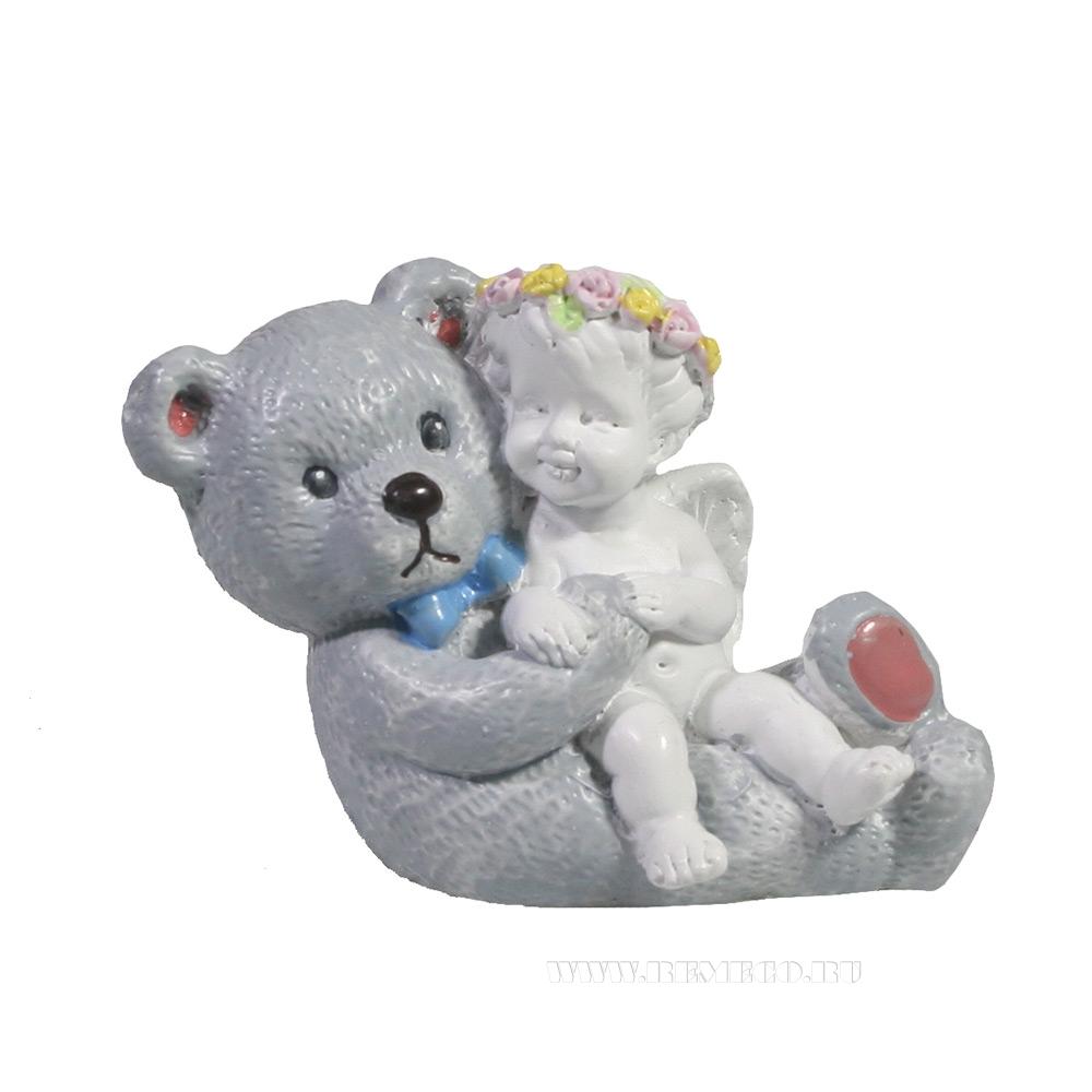 Фигура декоративная Ангел с плюшевым медведем L7W3,5H5 оптом