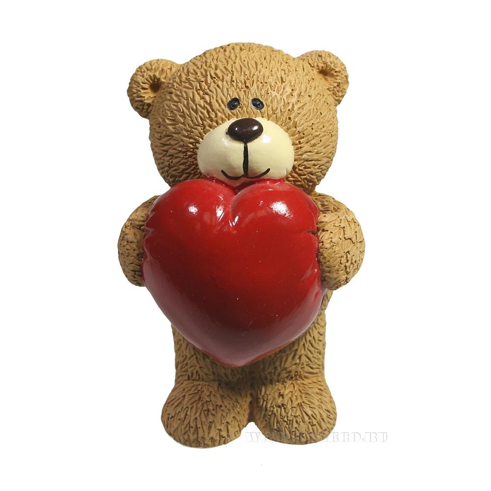 Фигура декоративная Влюбленный медвежонок (бежевый) L7W7H11 оптом