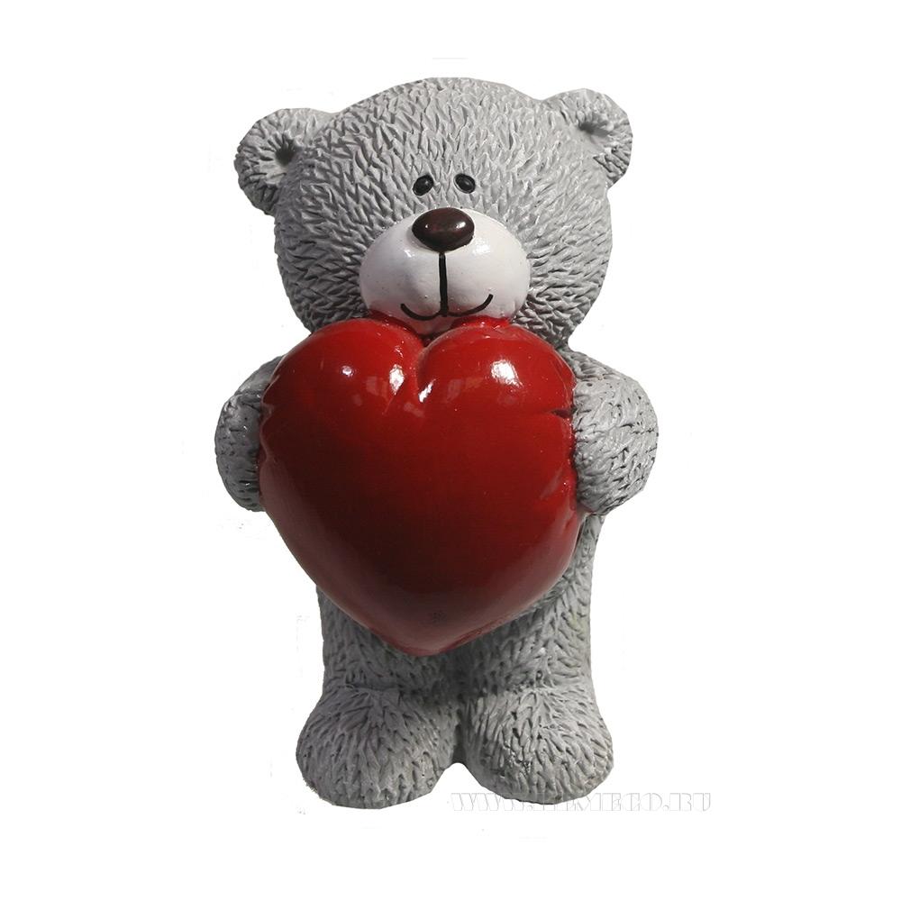 Фигура декоративная Влюбленный медвежонок (серый) L7W7H11 оптом