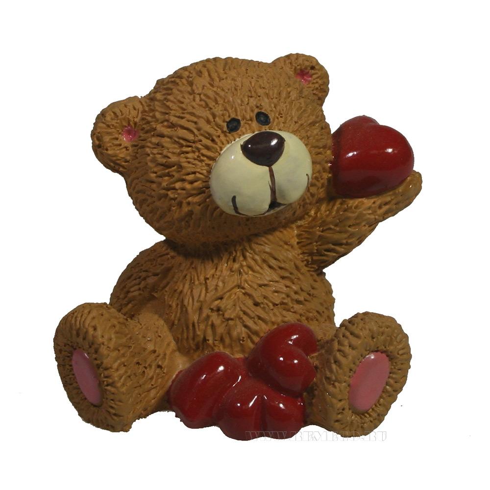 фигура декоративная Мишка с сердечками (бежевый) L5W5H5,5 оптом