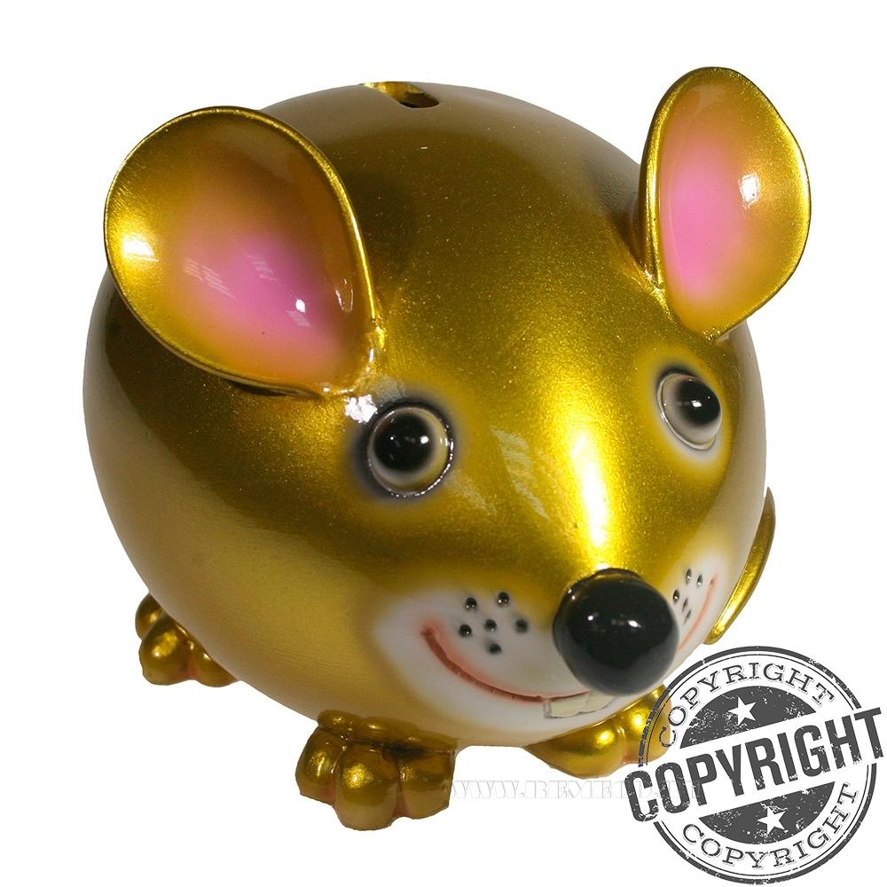 Копилка Мышка Бося (яркое золото) L18,5 W12 H12 см оптом