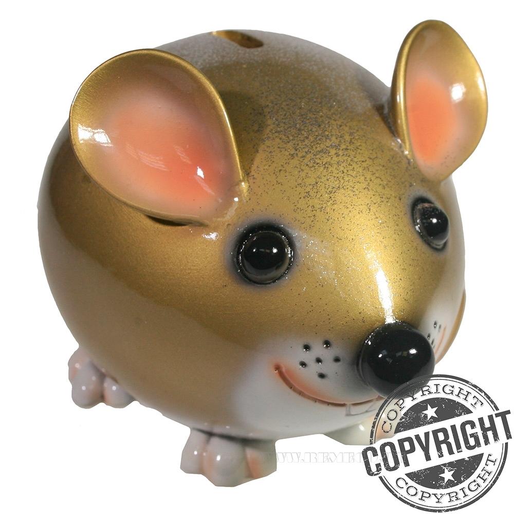 Копилка Мышка Бося (золото+глиттеры) L18,5 W12 H12 см оптом
