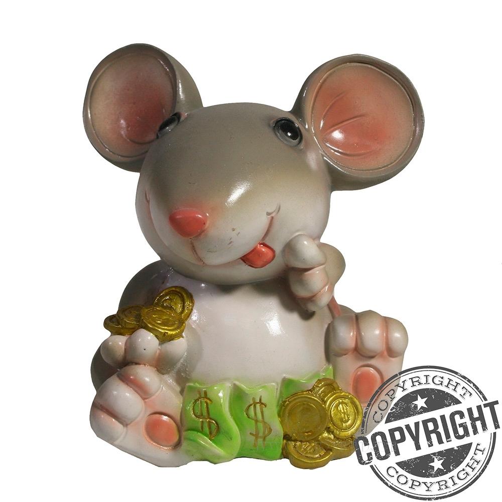 Копилка Мышка Боня (серый) L10 W10,5 H12 см оптом