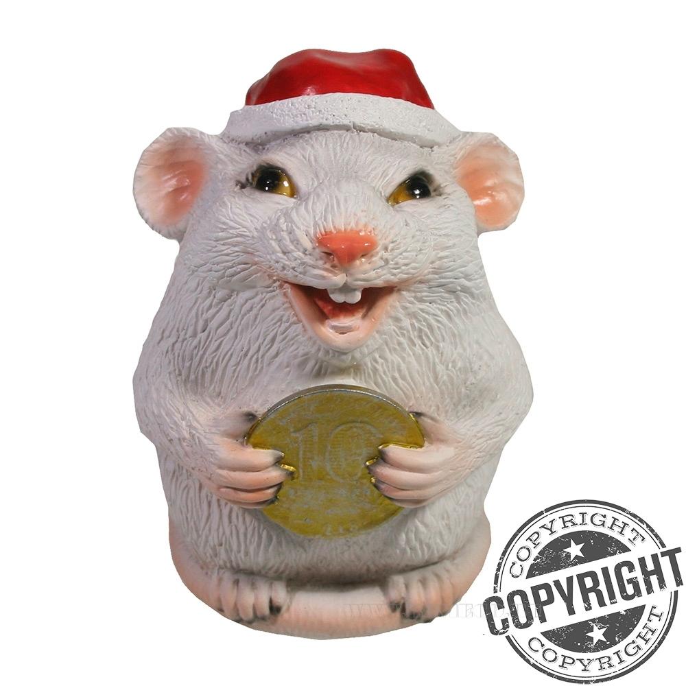 Фигурка декоративная Крыса с монетой 10 рублей (белый) L7 W7 H9 см оптом