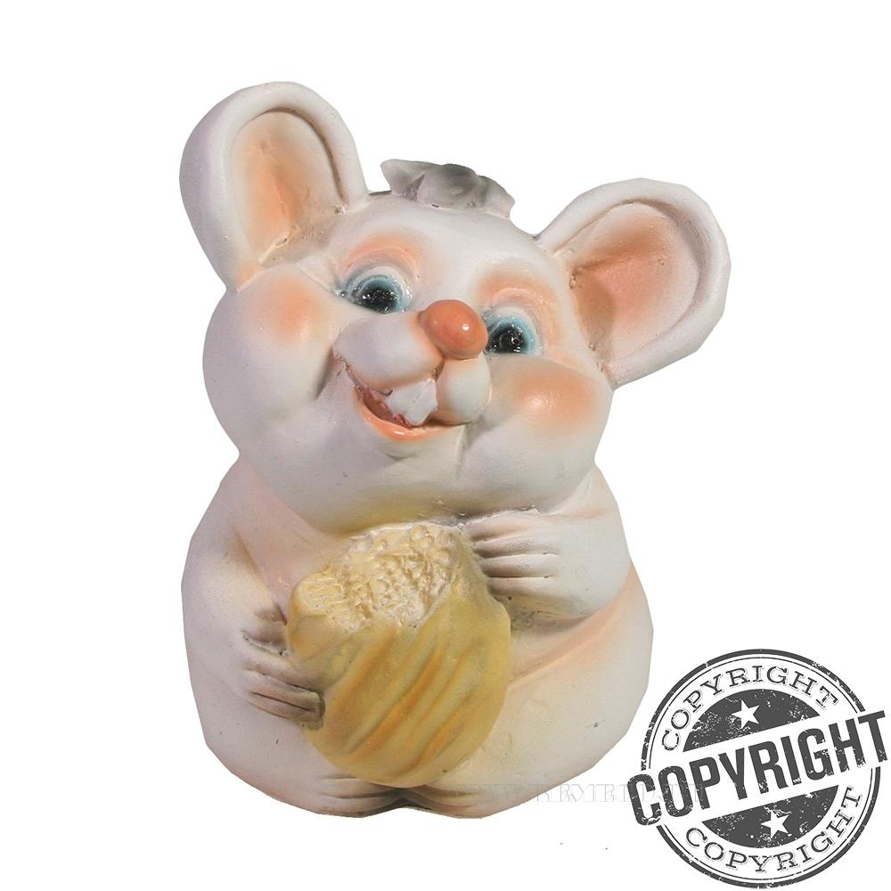 Фигурка декоративная Мышонок Жора (белый) L6,5 W6 H10 см оптом
