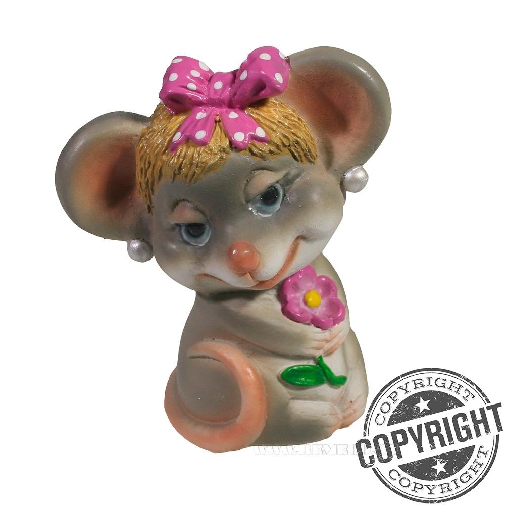 Фигурка декоративная Мышка Буся (серый) L5 W7 H8,5 см оптом