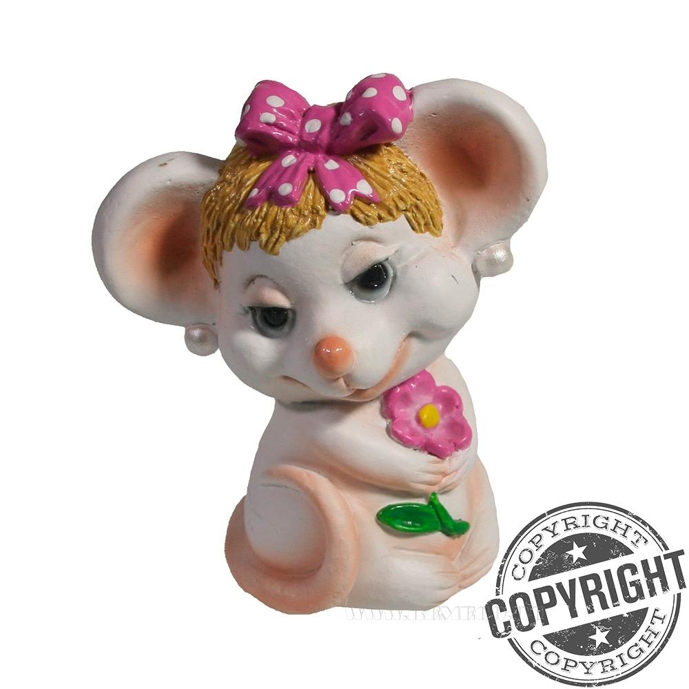 Фигурка декоративная Мышка Буся (белый) L5 W7 H8,5 см оптом