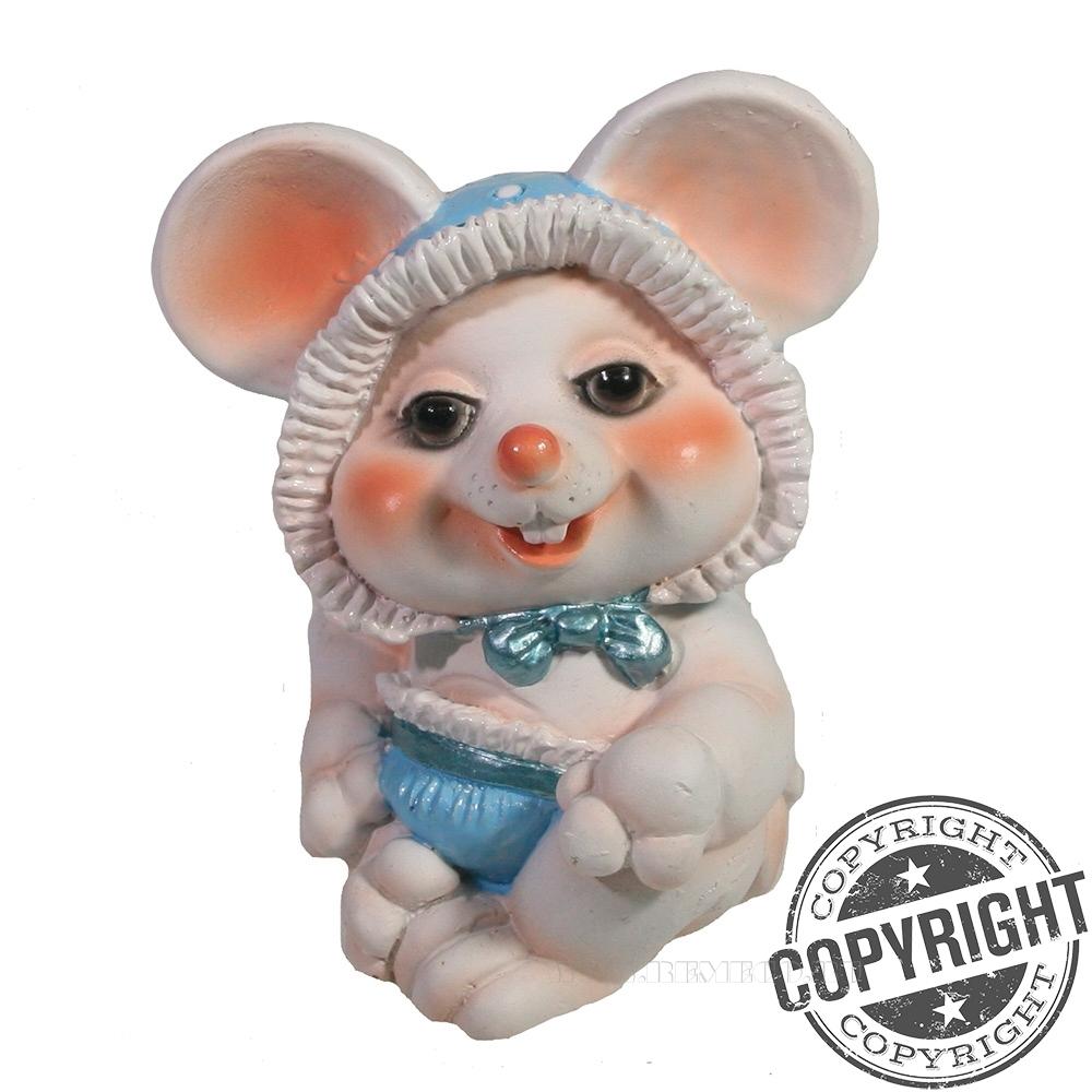 Фигурка декоративная Мышонок-пупсик (белый) L6,5 W8 H9 см оптом