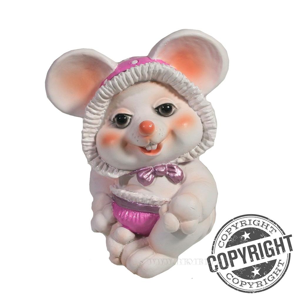 Фигурка декоративная Мышка-малышка (белый) L6,5 W8 H9 см оптом