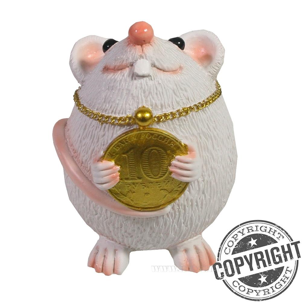 Фигурка декоративная Мышка с подвеской 10 рублей (белый) L6,5 W8 H9 см оптом