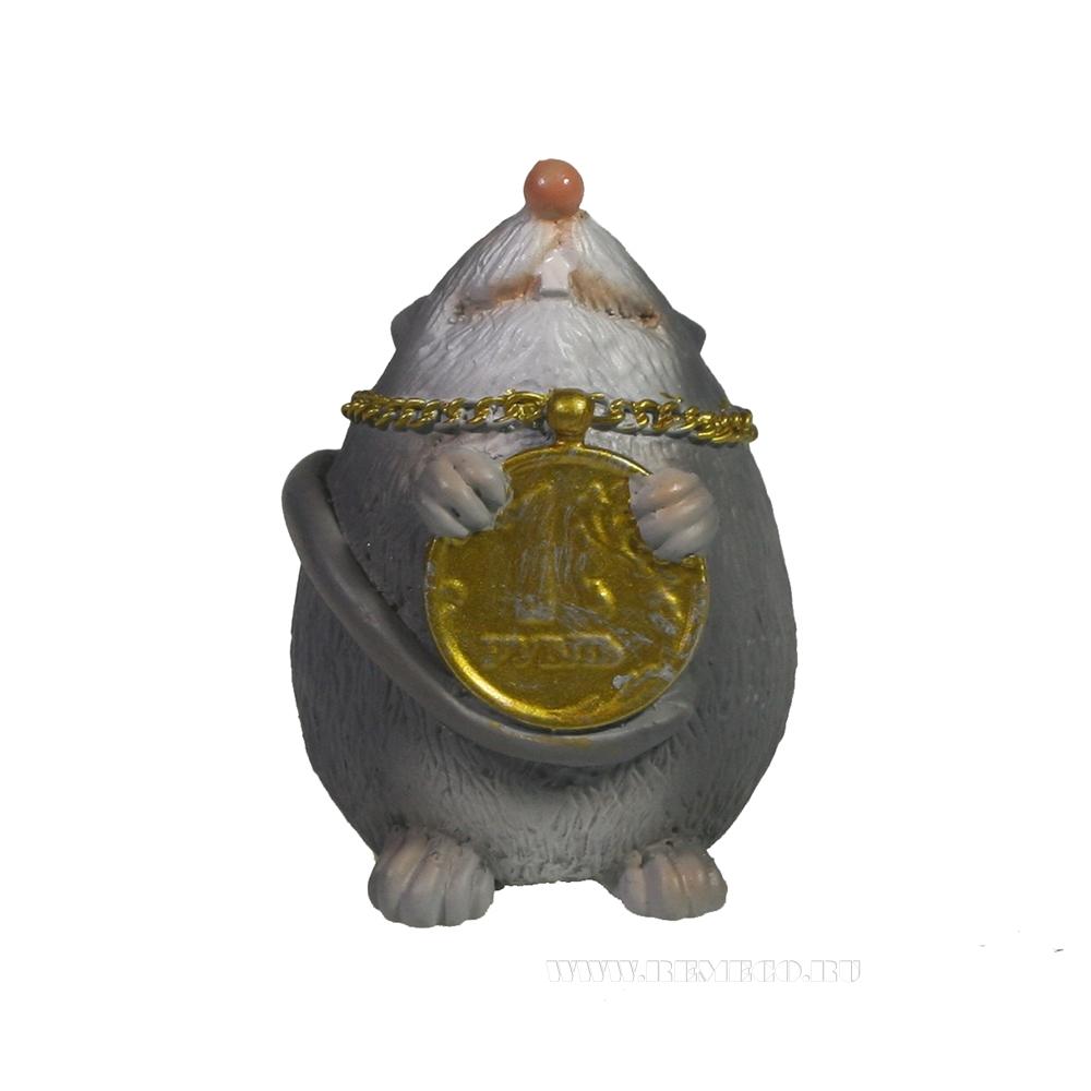 Фигурка декоративная Мышка с подвеской 1 рубль (серый) L4,5 W4 H5,5 см оптом