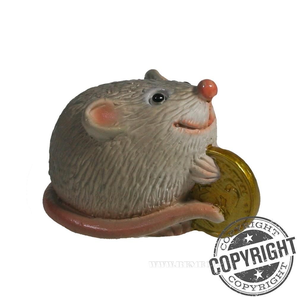 Фигурка декоративная Денежная Мышка (серый) L5,5 W3,5 H3,5 см оптом