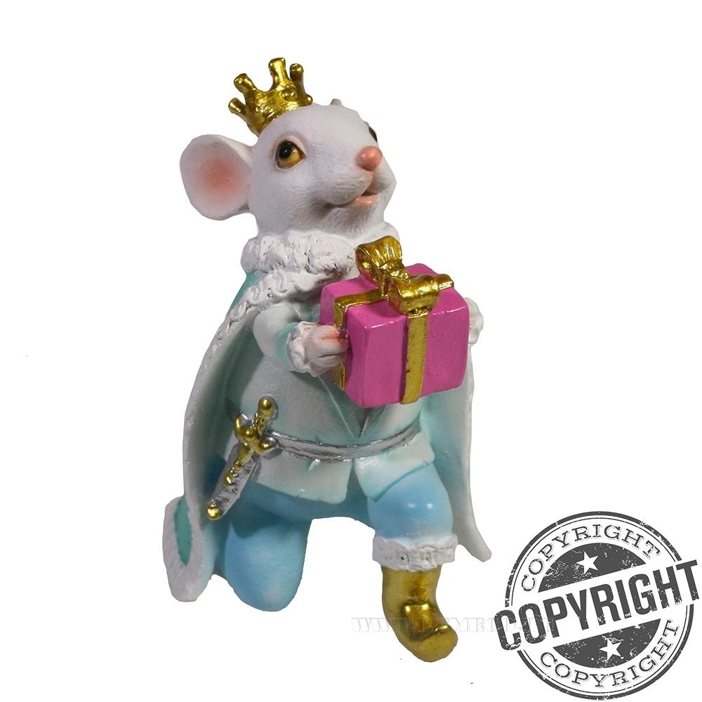 Фигурка декоративная Мышонок Чарльз (белый) L8 W9 H12 см оптом