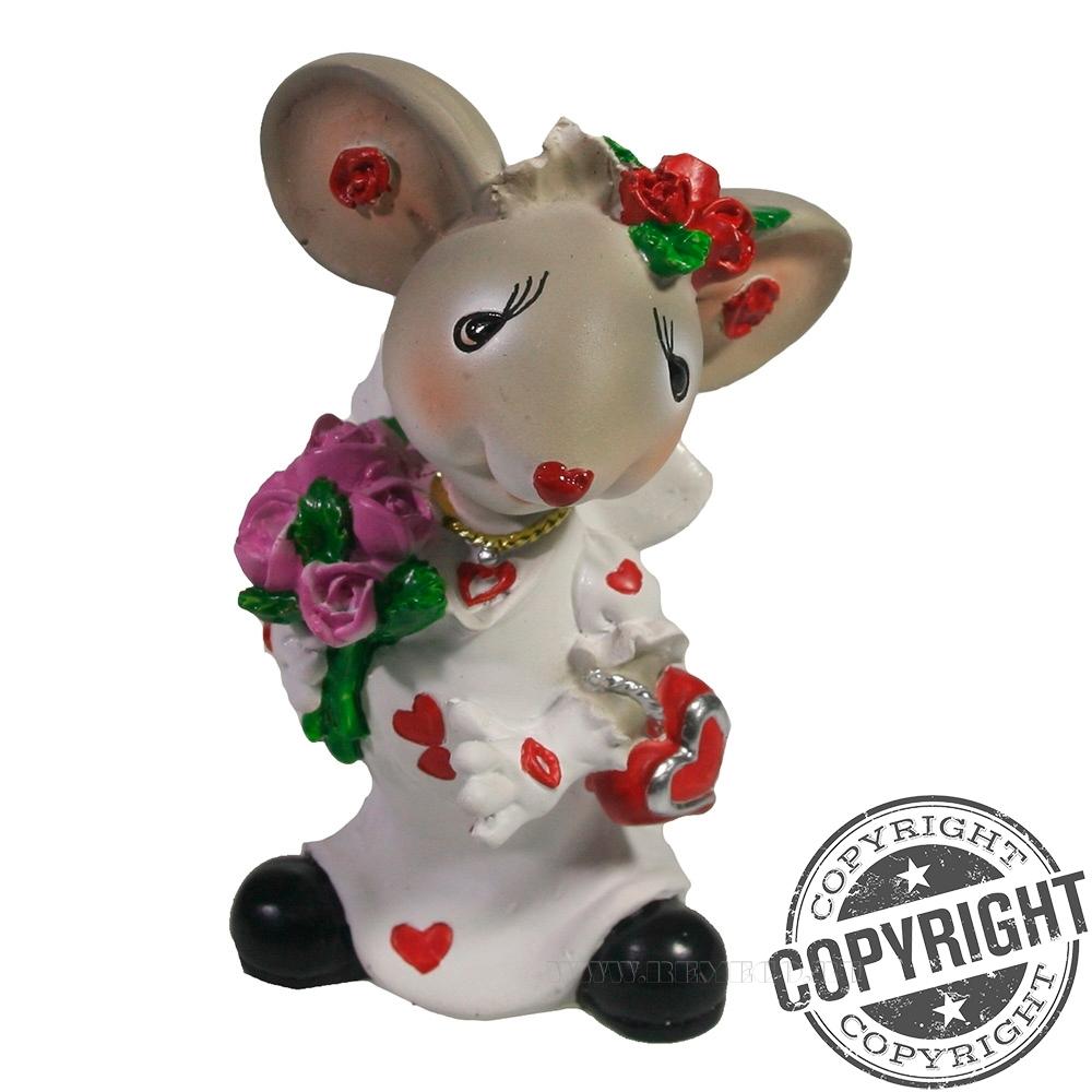 Фигурка декоративная Мышка-невеста (серый) L5 W6 H9 см оптом
