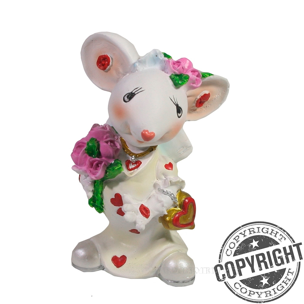 Фигурка декоративная Мышка-невеста (белый) L5 W6 H9 см оптом