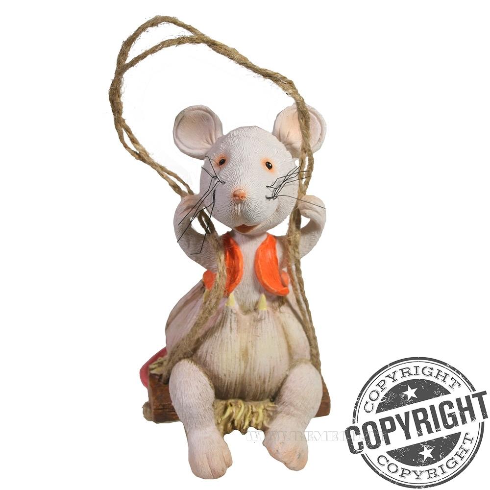 Подвеска декоративная Мышка на качелях (белый) L8 W7 H12,5 см оптом