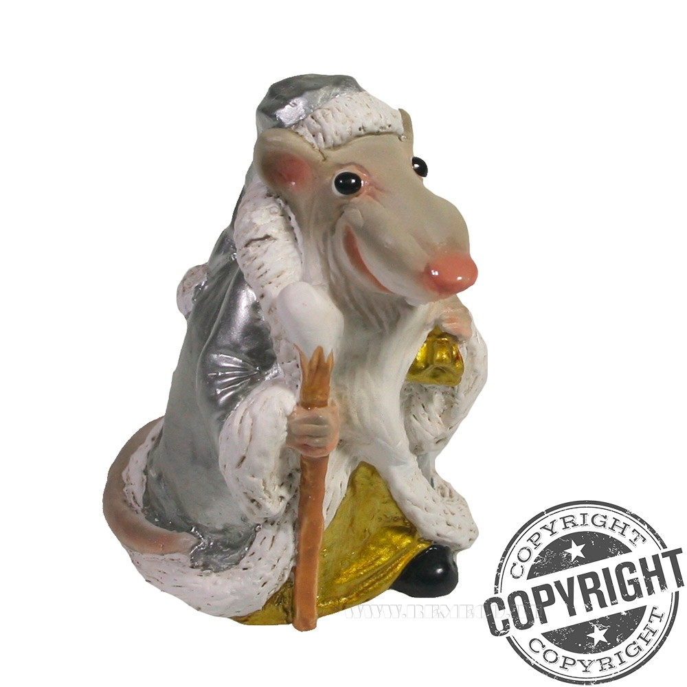 Фигурка декоративная Крыс-Мороз (серебро) L6 W5 H7 см оптом