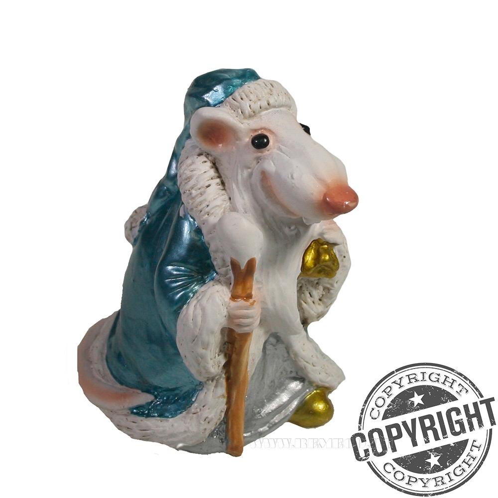 Фигурка декоративная Крыс-Мороз (голубой) L6 W5 H7 см оптом
